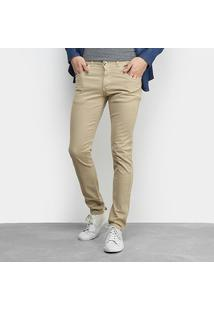 Calça Sarja Grifle Skinny Color Masculina - Masculino-Bege