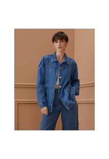 Amaro Feminino Jaqueta Jeans Recortes Com Faixa Na Cintura, Azul Médio