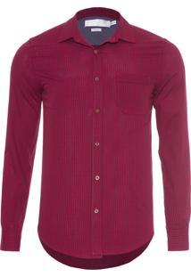 Camisa Masculina Vichy Maquinetada - Vermelho