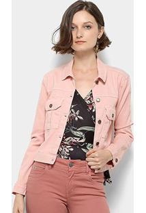 Jaqueta Jeans Mercatto Feminina - Feminino-Rosa Claro