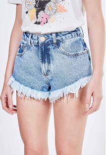 Short Cintura Baixa Em Jeans Claro