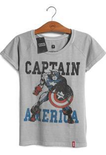 Camiseta Feminina Marvel Capitão América - Era De Prata - Feminino-Cinza