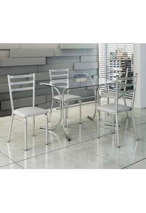 Conjunto De Mesa Com 4 Cadeiras Nina Prata E Branco
