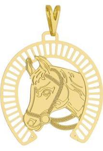Pingente Cavalo Tudo Joias Folheado A Ouro 18K - Unissex-Dourado