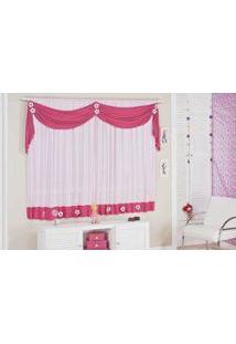 Cortina Margarida Tecido Malha Gel Pra Quarto Menina Varão De 2,00 Altura X 1,70 Altura Rosa E Pink