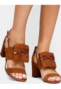 Sandália Couro Shoestock Franjas Feminina - Feminino