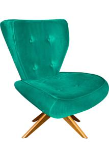 Poltrona Decorativa Tathy Suede Verde Turquesa Com Base Giratória De Madeira - D'Rossi.