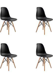 Kit 06 Cadeiras Eiffel S/ Braço Preta Rivatti