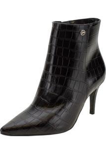 Bota Feminina Ankle Boot Via Marte - 206201 Preto/Croco 35