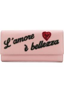 Dolce & Gabbana Carteira De Couro Com Aplicação - Rosa
