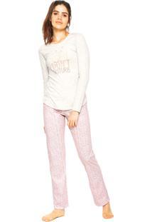 Pijama Cor Com Amor Don'T Disturb Cinza/Rosa