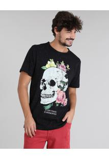 Camiseta Masculina Botonê Caveira Manga Curta Gola Careca Preta