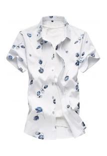 Camisa Masculina Com Estampa De Rosas - Branco