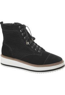 Ankle Boot Flatform Em Camurça Preto
