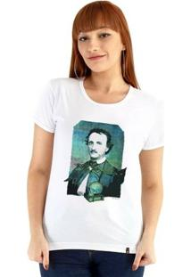 Baby Look Ouroboros Manga Curta Edgar Allan Poe - Feminino-Branco