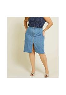 Saia Plus Size Feminina Midi Jeans Fenda