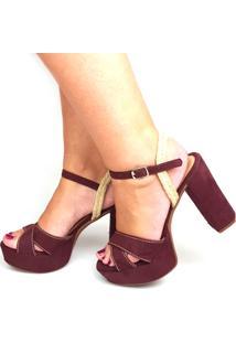 Sandália Love Shoes Meia-Pata Salto Grosso Cruzada Com Corda Vinho