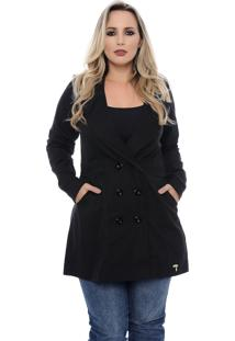 Casaco Plus Size Trench Coat Preto