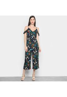 Macacão Longo Lily Fashion Open Shoulder Feminino - Feminino-Marinho+Verde
