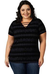 Blusa Decote Com Stripes Preto