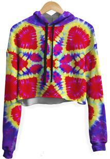 Blusa Cropped Moletom Feminina Psicodã©Lico Tie Dye Md06 - Vermelho - Feminino - Poliã©Ster - Dafiti