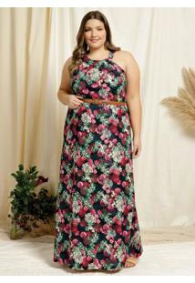 Vestido Longo Floral Preto Franzido Plus Size
