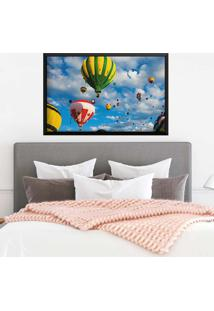 Quadro Love Decor Com Moldura Balloons In The Sky Preto Médio