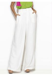 Calça Pantalona De Viscose Branca