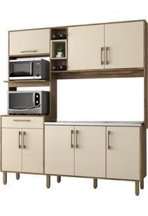 Cozinha Compacta Jaeli Sofia J630, Nogal E Off White