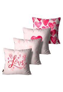 Kit Com 4 Capas Para Almofadas Presente Cute Love Rosa