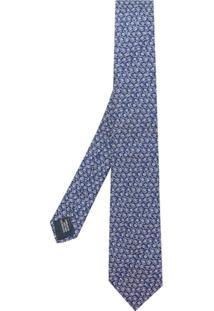 Lanvin Gravata De Seda Com Bordado Floral - Azul
