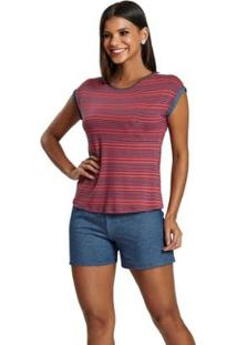 Pijama Recco Curto Viscoflex Malha Stret Feminino - Feminino-Vermelho+Azul