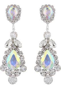 Brinco Pedraria Liage Pedra Gota Flor Transparente / Incolor E Mini Strass Cristal Metal Prata