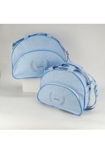 Kit Bolsa E Frasqueira Bordada Coroa - Masculino-Azul