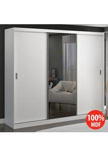Guarda Roupa 3 Portas De Correr Com 1 Espelho 100% Mdf 7320E1 Branco - Foscarini