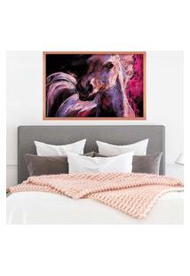 Quadro Love Decor Com Moldura Cavalo Em Tons De Lilás Rose Metalizado Médio