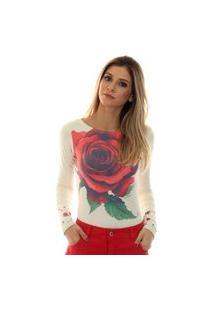 Blusa Ficalinda Com Proteçáo Uv Estampa Com Rosa Vermelha Exclusiva Decote Canoa