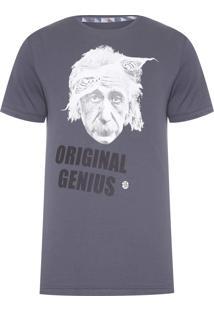 Camiseta Masculina Einstein Genius - Cinza