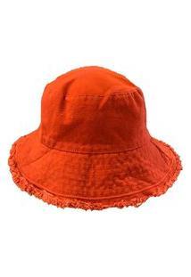 Chapéu Bucket Laranja/Vermelho C/ Barra Desfiada Tam U