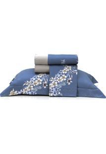 Jogo De Lençol Casal Altenburg Cetim 300 Fios 100% Algodão Flower Glam - Azul