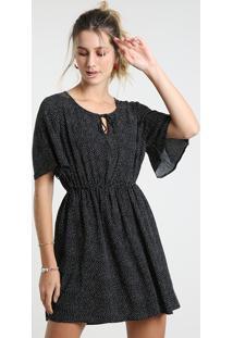 Vestido Feminino Curto Estampado De Poá Manga Curta Preto