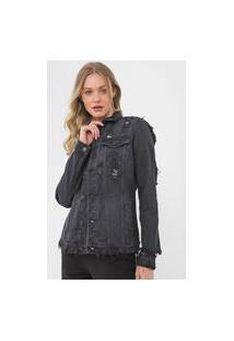 Jaqueta Sarja Calvin Klein Jeans Destroyed Preta
