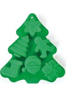 Forma De Silicone Pinheiro Verde - Verde - Dafiti