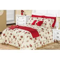 0f57f62200 Cobre Leito   Colcha Montallegro Casal Box Flores Vermelhas Com 6 Peças -  Sina Enxovais