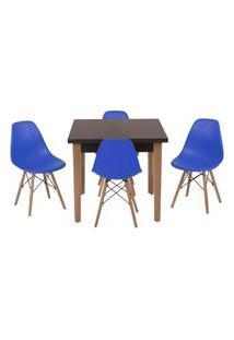 Conjunto Mesa De Jantar Luiza 80Cm Preta Com 4 Cadeiras Eames Eiffel - Azul