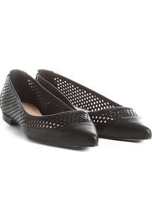 Sapatilha Couro Shoestock Bico Fino Lasercut Feminina - Feminino-Preto