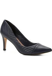 Scarpin Couro Shoestock Salto Alto Matelassê - Feminino-Marinho