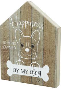 Quadro Madeira House Form Dog Bege 20,5X2,5X15,5Cm
