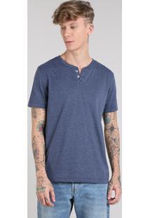 Camiseta Masculina Básica Com Botões Manga Curta Azul Marinho