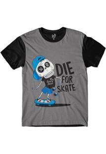 Camiseta Long Beach Esqueleto Sublimada Masculina - Masculino-Chumbo+Preto